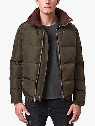 AllSaints Novern Reversible Puffer Jacket, Oxblood/Graphite
