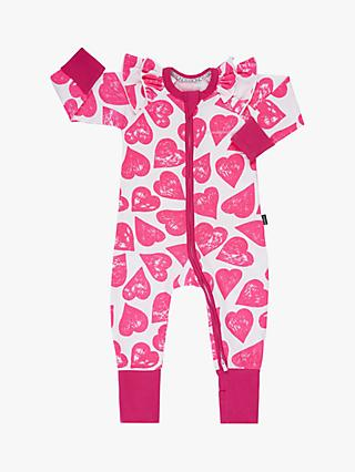 Bonds Baby Pop Goes My Heart Print Wondersuit, Pink/White