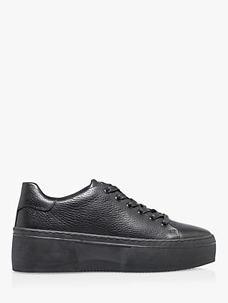 Bertie Electaa Leather Lace Up Flatform Trainers, Black