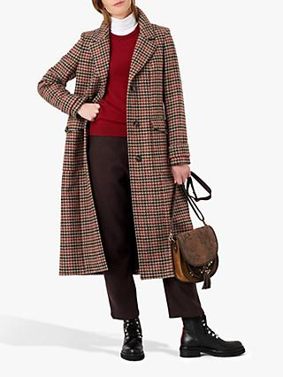 Brora Houndstooth Wool Coat, Otter Check
