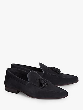 Reiss Larch Suede Tassel Loafers, Navy