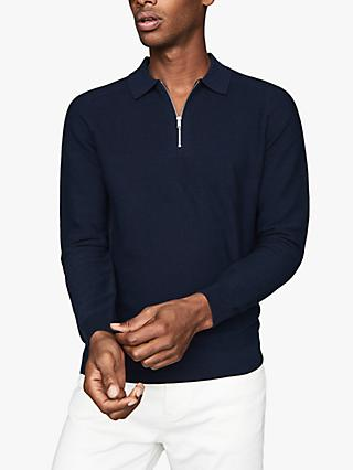 Reiss Roman Zip Neck Cotton Polo Shirt