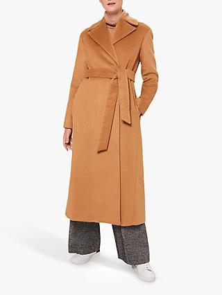 Hobbs Rene Alpaca Wool Blend Wrap Long Coat