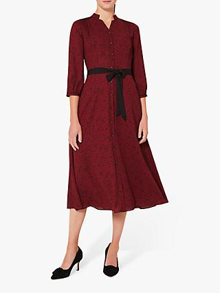 Hobbs Petite Cece Crepe Shirt Dress, Merlot Black