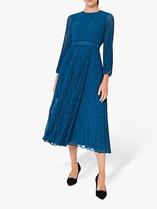 Hobbs Petite Isabella Spot Pleated Midi Dress, Kingfisher