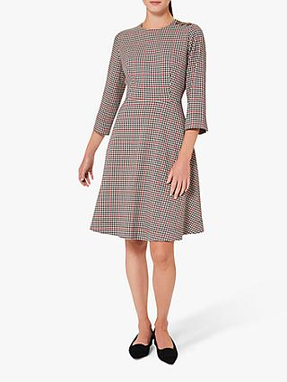 Hobbs Francine Check Dress, Red/Black