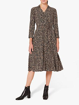 Hobbs Petite Rosal Abstract Print Midi Dress, Navy/Camel/Ivory