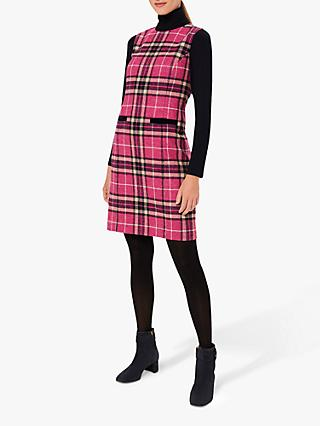 Hobbs Margot Checked Wool Shift Dress, Pink/Navy