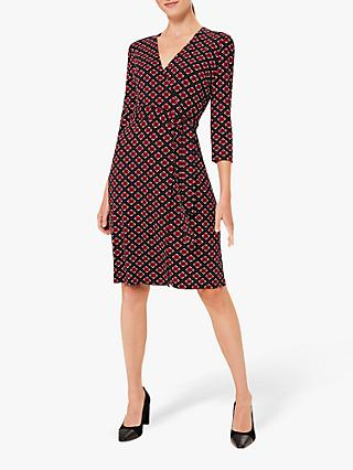 Hobbs Delilah Print Wrap Dress, Red/Multi
