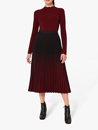 Hobbs Petite Tasha Pleated Midi Skirt, Black Merlot