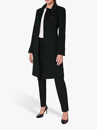 Hobbs Sylvia Double-Breasted Coat, Dark Green