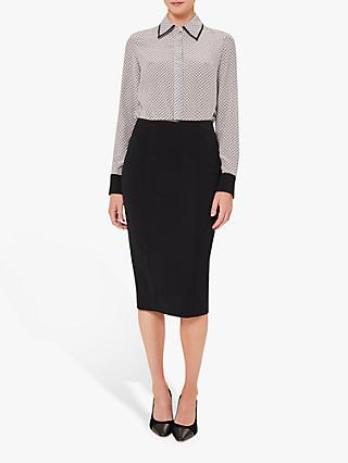 Hobbs Matilda Pencil Midi Skirt, Navy