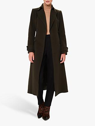 Hobbs Lori Wool Cashmere Blend Belted Long Coat, Olive