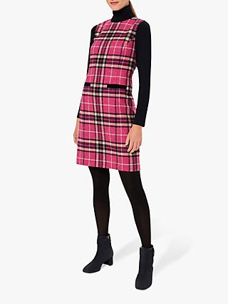 Hobbs Petite Margot Checked Wool Shift Dress, Pink/Navy