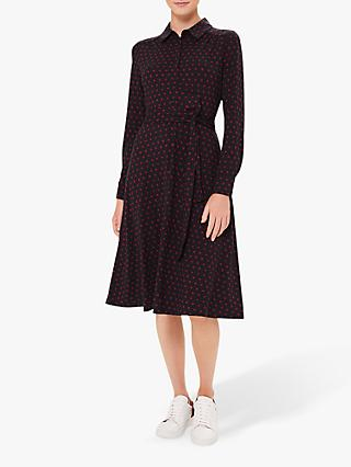 Hobbs Lucinda Spot Print Shirt Dress, Navy/Merlot