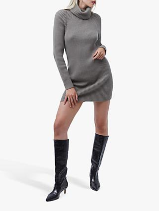 French Connection Katerina Knit Dress, Light Tarmac Khaki
