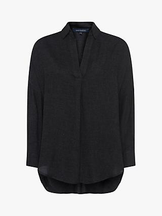 French Connection Viro Pop Over Relaxed Shirt, Charcoal Melange