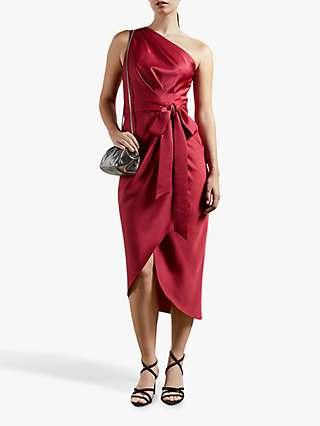 Ted Baker Gabie One Shoulder Drape Midi Dress, Red