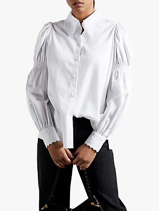 Ted Baker Briona Long Cuffed Sleeve Blouse, White