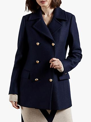 Ted Baker Catiiey Double Breasted Wool Pea Coat, Blue