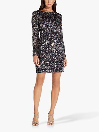 Adrianna Papell Crunchy Beaded Dress, Midnight