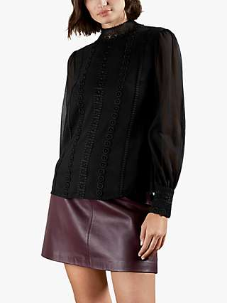 Ted Baker Vessar Funnel Neck Lace Top, Black