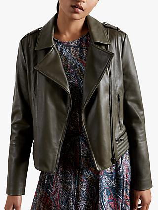 Ted Baker Idda Leather Biker Jacket, Olive
