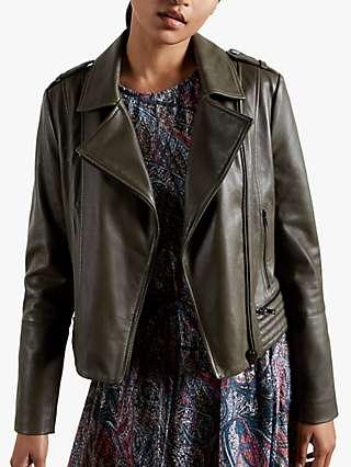 Ted Baker Idda Leather Biker Jacket, Olive