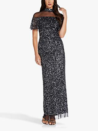 Adrianna Papell Beaded Sheer Neck Maxi Gown, Midnight