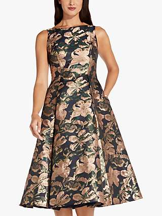 Adrianna Papell Floral Metallic Jacquard Dress, Blush/Multi
