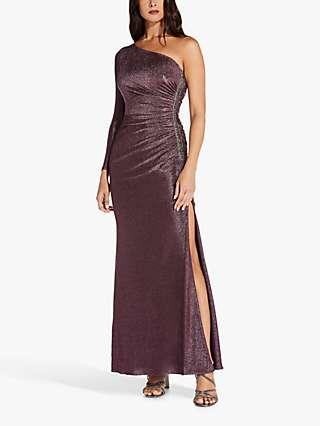 Adrianna Papell Sequin One Shoulder Metallic Dress, Amethyst