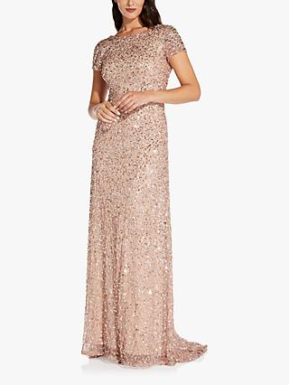 Adrianna Papell Scoop Neck Sequin Dress, Rose Gold