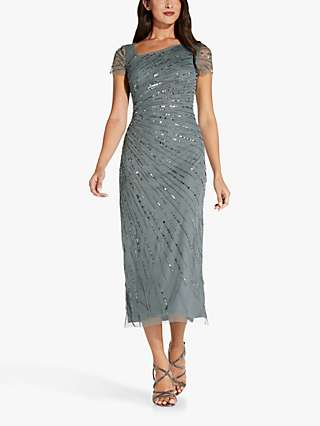 Adrianna Papell Beaded Midi Dress, Green Granite