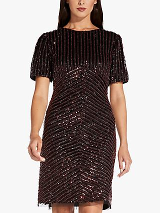 Adrianna Papell Sequin Beaded Dress, Black/Red