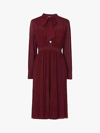 L.K.Bennett Singer Pleated Georgette Dress, Burgundy