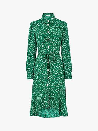 L.K.Bennett Billie Silk Ruffle Hem Shirt Dress, Emerald