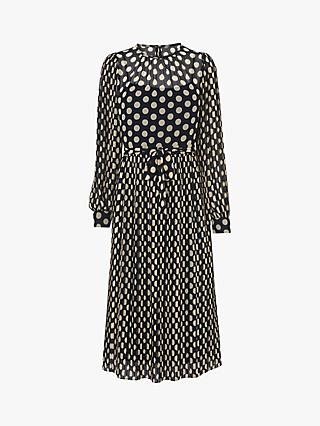 L.K.Bennett Felix Spot Pleated Dress, Navy