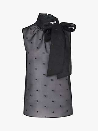 L.K.Bennett Glinda Embroidered Silk Organza Top, Black
