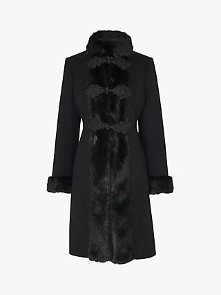 L.K.Bennett Perris Faux Fur Trim Tailored Coat, Black