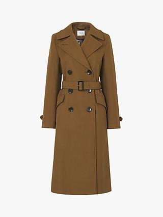 L.K.Bennett Milo Tailored Cotton Coat, Olive