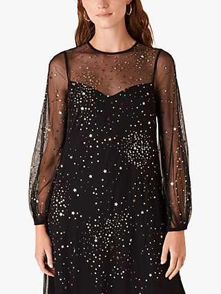 Monsoon Stefania Metallic Star Dress, Black