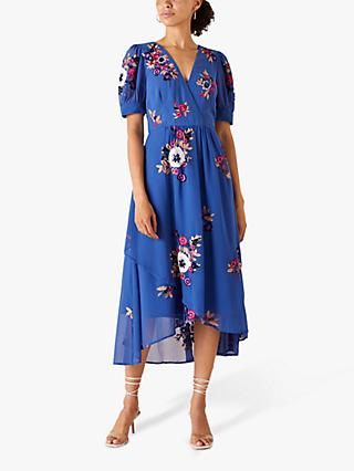 Monsoon Lucia Floral Embroidered Tea Dress, Blue