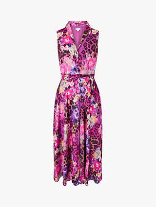 Monsoon Crystal Animal Print Midi Dress, Pink