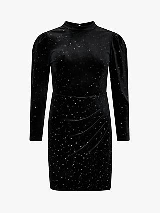 Monsoon Kay Star Velvet Dress, Black