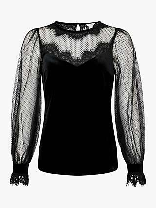 Monsoon Lisandra Velvet Lace Top, Black