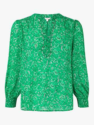 Monsoon Sequin Detail Floral Blouse, Green