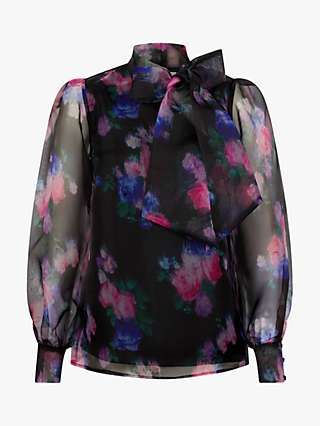 Monsoon Rylee Floral Organza Blouse, Black