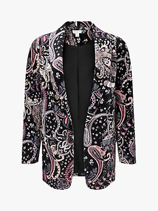 Monsoon Paisley Print Velvet Jacket, Black