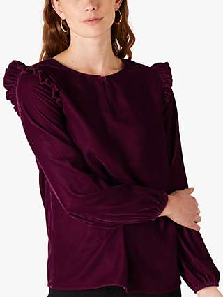 Monsoon Velvet Ruffle Top, Plum