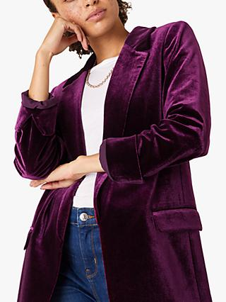 Monsoon Velvet Blazer, Plum